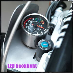 Retro motorcycles mini Stainless steel mechanical odometer speedometer KM/H MPH