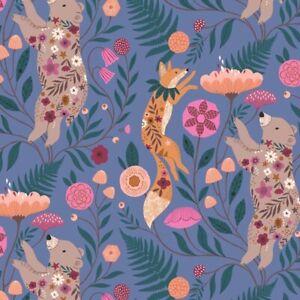 Dashwood Studio Wild Fox & Bear on Blue Fabric