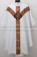 Chasuble WHITE gothic vestment and mass & stole set,casula,casel,casulla