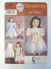 """Simplicity 9560 Pattern 18"""" Fancy Frocks by Susan Payne Doll Clothes Uncut 2001"""