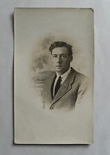 Antique 1918 B/W Photograph. Young Man (Ex-Tommy WWI?) Depressed/ Shell-Shocked?