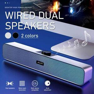 Wired Desktop Stereo Speaker LED Soundbar USB 3.5mm DC5V For Smart Phone PC ON