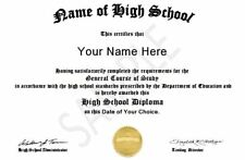 Personalized High School Diploma Replacement Pdf emailed to you within 24 hrs