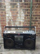 Hitachi TRK-8080E Ghettoblaster Boom Box Cassette Tape FM Radio VU Levels Light
