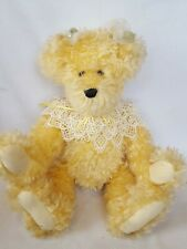 """Vintage Handmade Blond Mohair Bear 16"""" Signed By Geneva Wood with Tag -5 Jointed"""