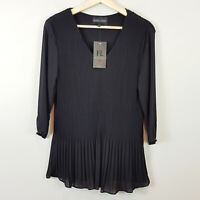 [ FRANK LYMAN ] Womens Black Pleated Blouse Top NEW | Size S or AU 10 / US 6