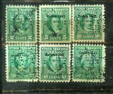 USA 2c to 50c Stock Transfer Perfin Old Stamps