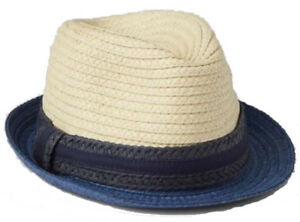Baby Gap NWT Blue Tan Colorblock Natural Straw Fedora Hat S/M 2-3 Years $20