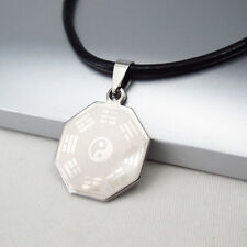 Silver Yin Yang Tai Chi Ba Gua Stainless Steel Pendant Black Leather Necklace