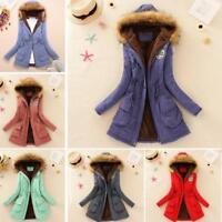 Women Warm Long Coat Fur Collar Hooded Jacket Slim Winter Parka Outwear Coats XL
