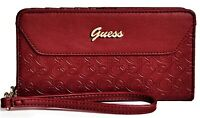 NWT GUESS VALORA MOBILE PHONE WALLET Burgundy Logo Wristlet Clutch Purse GENUINE