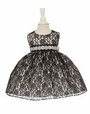 New Baby Girls Black Lace Dress Wedding Pageant Birthday Christmas Party 1132