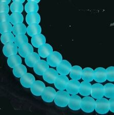 100 Frosted Sea Glass Round / Rocaille Beads Matte - Seafoam Blue 4mm
