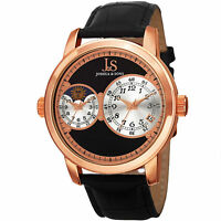 New Men's Joshua & Sons JS87RG Swiss Quartz Dual Time AM/PM Black Leather Watch