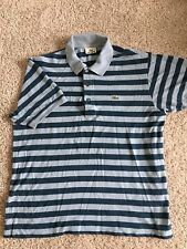 Lacoste Mens Blue Striped Short Sleeve Polo size 5