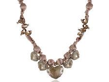 Elegant Classy Champagne Nude Satin Fabric Heart Shaped Gemstone Wrap Necklace