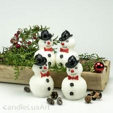 Set 4x Schneemann 11cm Stearin Kerzen Figuren Advent Tischdeko Weihnachtskerzen