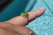 Vintage 24 kt gold carved jade ring