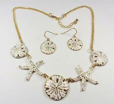 BEACH FASHION RHODIUM NAUTICAL GOLD TONE SAND DOLLAR PENDANT NECKLACE & EARRINGS