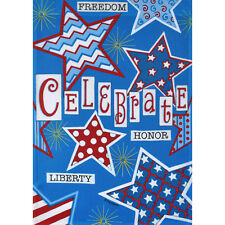 "CELEBRATE STARS HONOR LIBERTY 28"" X 40"" PORCH FLAG 10-2908-50 RAIN OR SHINE SMR"