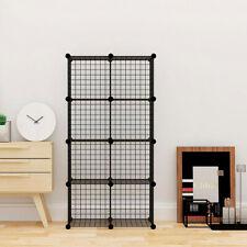 Étagère à Livres en Grilles Métalliques avec 8 Cubes Modulaire Organisateur