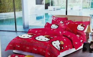 Bed Sheet Cotton Hello Kitty Bedsheet With 2 Pillow Cover For Home purpose gift