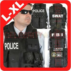 New Men POLICE SWAT FBI CIA Vest Jacket Military Army Tactical Costume L XL XXL