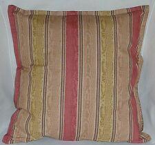 "Cushion Cover salmon pink striped print 100% cotton zipped 18"" X 18"" - FREE p&p"