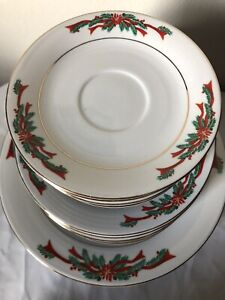 POINSETTIA RIBBONS FINE CHINA CHRISTMAS PLATES FOR DINING ROOM FULL SET