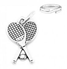 STERLING SILVER TENNIS RACKET & BALL CHARM W/SPLIT RING