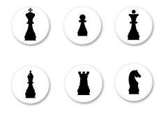 Lot Badge Button Ø25mm Jeu d'Echecs Chess Game Reine Roi fou Cheval Pion Tour