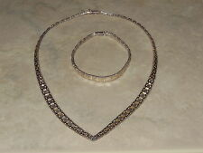 "18""  Italian .925 Silver Necklace w/ 7.5"" Matching Bracelet Italy"