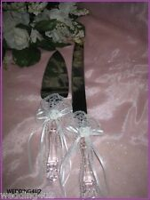 Wedding Party Reception Fancy Lace & Pearls Cake Knife & Server 2 Psc Set White
