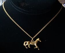 Vintage Necklace Galloping Horse Pendant 3D Gold Plated 1970's Never Worn