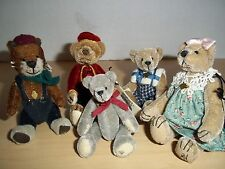 Lot of 5 Cottage Collectibles Miniature Jointed Bears by Ganz - Bellhop, Kelly