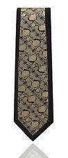 NOIR HOMMES bordure Cravate Floral Brun Doré Paisley- mariage en soie tissée