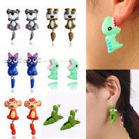 Fashion 3D Women Cartoon Animal Unicorn Plants Ear Stud Earring Jewelry Gift