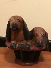 CUTE! Vintage hand carved wood dachshunds puppies in a basket dog door stop