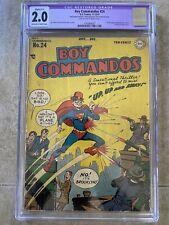 Boy Commandos #24 CGC 2.0 DC Comics 1947 Superman 1st Costumed Superhero Satire