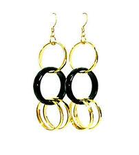 Black agate bead gold plated loop earrings EAR230004