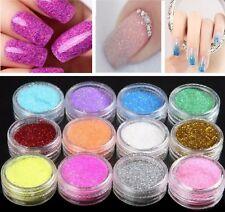 12 Nail Art Craft Acrilico Polvere Fine Glitter Decorazione Vasi suggerimenti
