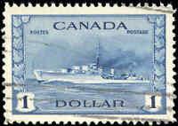 1942 Canada Used VF Scott #262 $1.00 KGVI War Issue Stamp