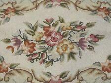"Cottage Charm! c 1930s Area Hook Rug Floral 66"" x 46"" Neutrals"