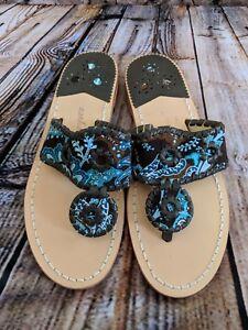 $118 New Women's Size 5 Jack Rogers Paisley Print Sandals
