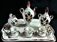 Miniature Ceramic Tea Set with Distressed Tray-12 Pieces-Brown Spots on White