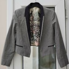 River Island Cropped Tuxedo Dog Tooth Houndstooth Black White Tailored Jacket 6