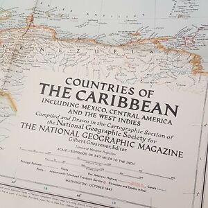 National Geographic Map of the Caribbean, 1947