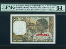 Comores:P-3,100 Francs,1963 * French Rule * PMG Ch. UNC 64 *