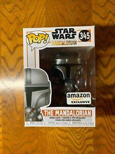 Funko Pop! Star Wars The Mandalorian Chrome Amazon Exclusive w/Soft Protector