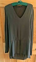 COMPTOIR DES COTONNIERS Tunic Top Taupe Drawstring Silky Knitted Back M UK12-14